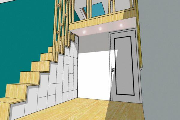 architecture intérieure chambre d'enfant avec meuble et escalier sur mesure Nancy