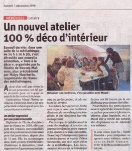 Article de presse Est Républicain atelier de décoraiton intérieure design d'espace