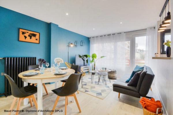 Aménagement et décoration d'un appartement pour de la colocation meublée - salle à manger