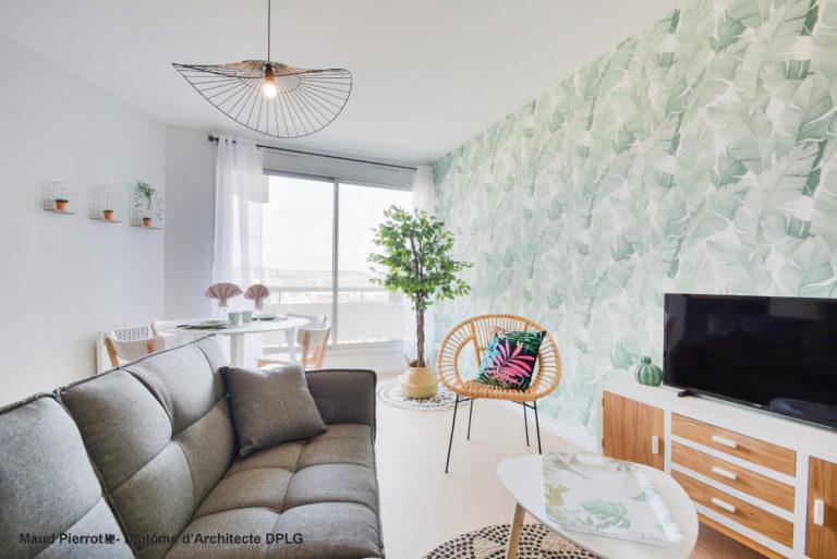 Aménagement et décoration d'un appartement pour de la location meublé longue durée salon