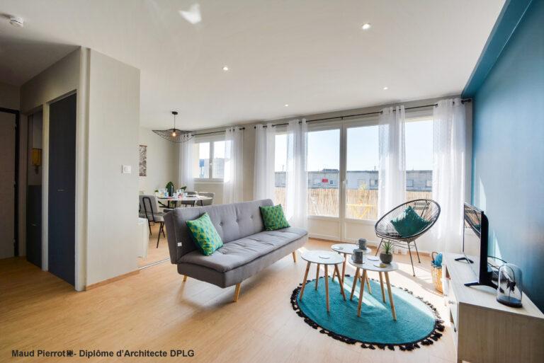 Aménagement et décoration d'un appartement pour de la colocation meublé salon et salle à manger 2
